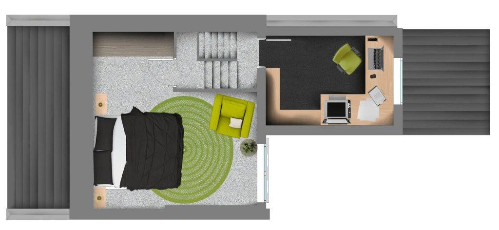 Un espace de bureau construit par une extension de loft à lucarne en L